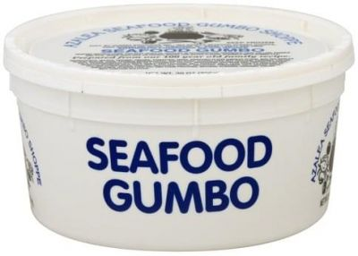 photo of canister of seafood gumbo